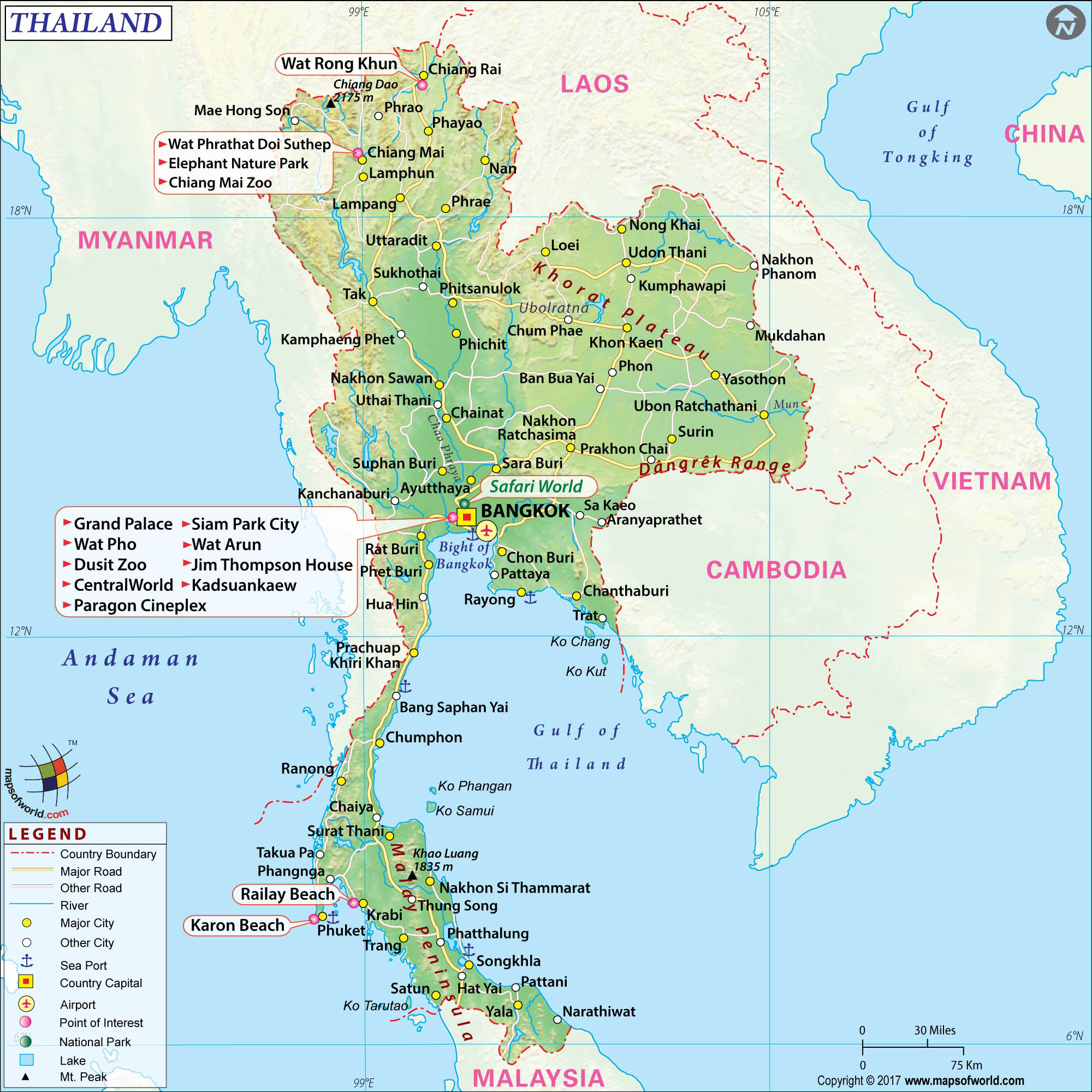detailed maps of thailand - HD1024×1024